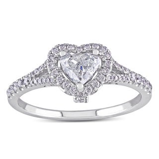 Miadora Signature Collection 14k White Gold 3/4ct TDW Heart Diamond Engagement Ring