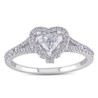 Miadora 14k White Gold 3/4ct TDW Heart Diamond Engagement Ring