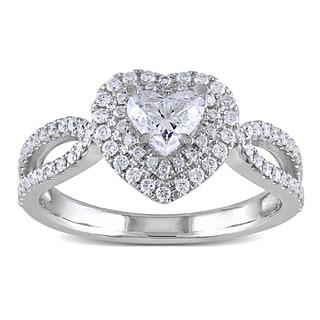 Miadora Signature Collection 14k White Gold 1ct TDW Heart Diamond Ring (G-H, I1-I2)