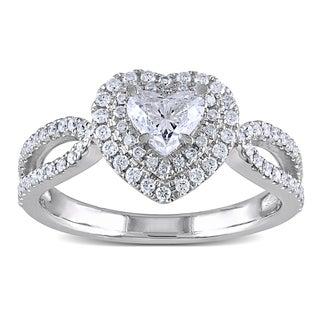 Miadora 14k White Gold 1ct TDW Double Halo Heart Diamond Ring (G-H, I1-I2)