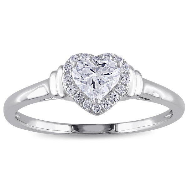 Miadora Signature Collection 14k White Gold 1/2ct TDW Heart Diamond Ring 15857475
