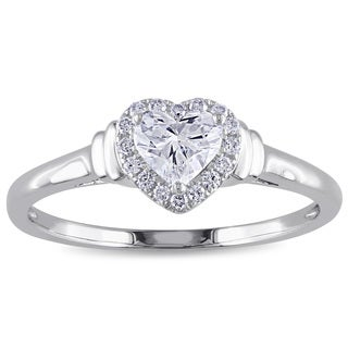 Miadora 14k White Gold 1/2ct TDW Heart Diamond Ring (G-H, I1-I2)
