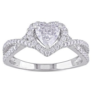 Miadora 14k White Gold 1 1/5ct TDW Diamond Heart Ring (G-H, SI1-SI2)