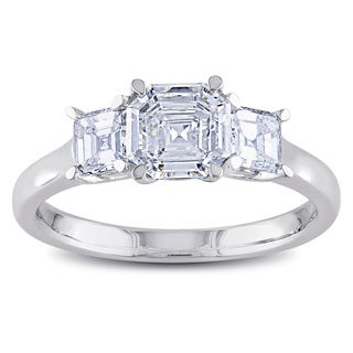 Miadora 14k White Gold 1 2/5ct TDW Asscher Cut Diamond Ring (G-H, VS1-VS2)
