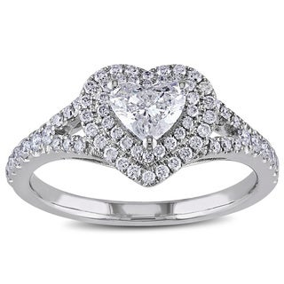 Miadora 14k White Gold 1ct TDW Diamond Heart Ring (G-H, I1-I2)