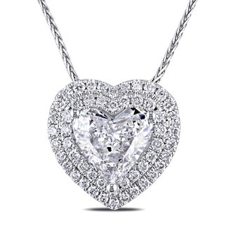 Miadora 14k White Gold 1 3/8ct TDW Diamond Heart Necklace (G-H, I1)