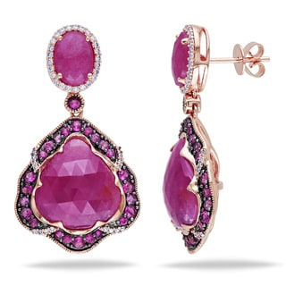 Miadora 14k Rose Gold Pink Sapphire 1/3ct TDW Diamond Earrings (G-H, SI1-SI2)