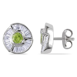 Miadora Signature Collection 18k White Gold 1 3/4ct TDW Diamond and Peridot Earrings (G-H, SI1-SI2)