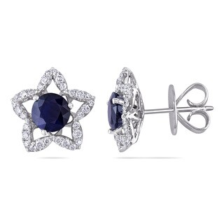 Miadora Signature Collection 18k White Gold 2ct Sapphire and 1/2ct TDW Diamond Earrings (G-H, SI1-SI2)