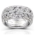 Annello Palladium 1/4ct TDW Vintage Floral Style Diamond Band (H-I, VS1-VS2)