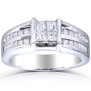 Annello 14k White Gold 1 1/10ct TDW Princess Quad Diamond Ring (H-I, SI1-SI2)