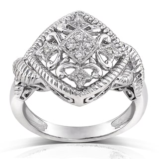 Annello 14k White Gold 1/10ct TDW Diamond Vintage Style Ring (H-I, I1-I2)