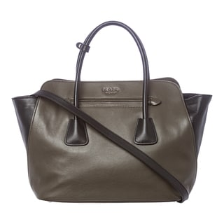 Prada Olive and Black Soft Leather Top-handle Satchel
