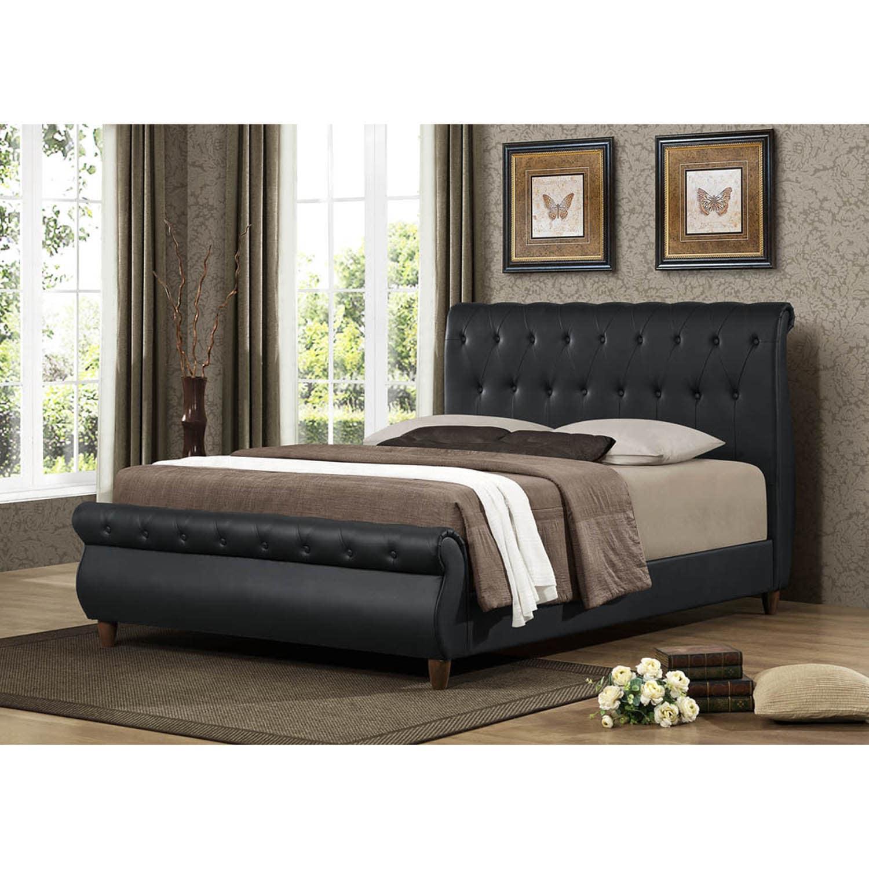 Ashenhurst Black Modern Sleigh Bed with Upholstered Headboard - Full ...