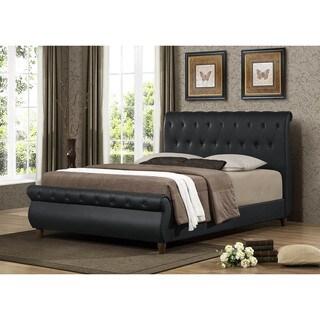 Ashenhurst Black Modern Sleigh Bed with Upholstered Headboard - Full Size