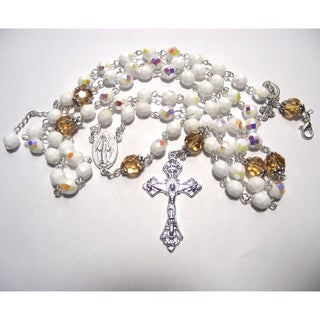 8mm White Aurora Borealis crystal Rosary and Bracelet Set