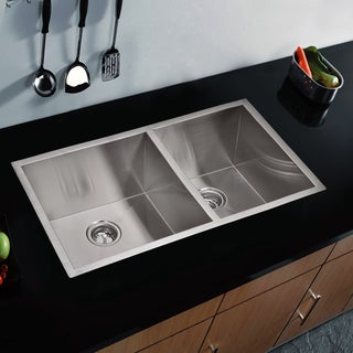 Water Creation 60/40 Double Bowl Stainless Steel Undermount Kitchen Sink (33 x 20 inches)