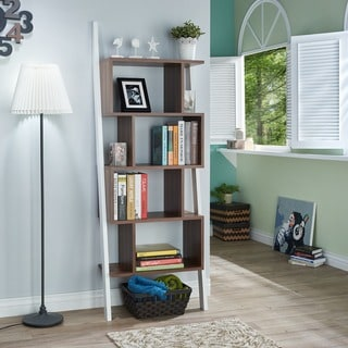 Furniture of America Danbury Contemporary 5-shelf 2-tone Bookshelf Display Stand