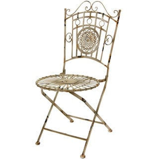 Distressed White Wrought Iron Garden Chair (China)