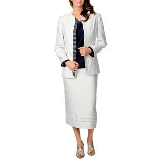 Giovanna Signature Women's Off-white and Navy 3-piece Skirt Suit