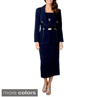 Giovanna Signature Women's Navy 3-piece Rhinestone Detailed Skirt Suit