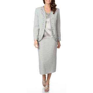 Giovanna Signature Women's Silver Jacquard Embroidered 3-piece Skirt Suit