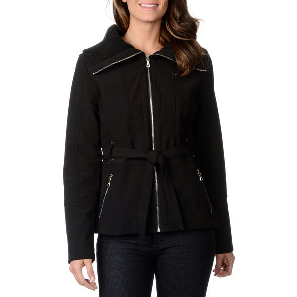 Mo-Ka Women's Black Knit Collar Softshell Jacket