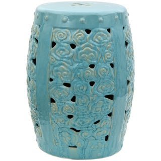 Carved Clouds Porcelain Garden Stool (China)