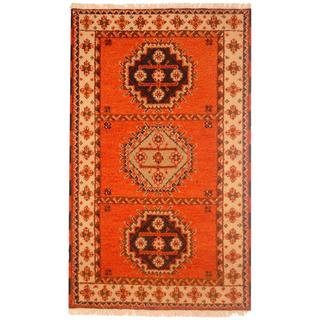 Indo Hand-knotted Kazak Orange/ Ivory Wool Rug (3' x 5')