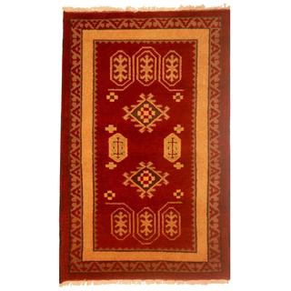 Indo Hand-knotted Kazak Burgundy/ Gold Wool Rug (3' x 5')