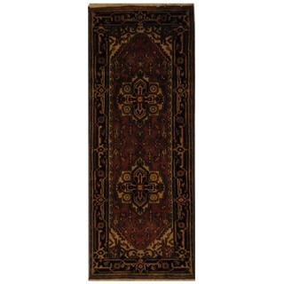 Indo Hand-knotted Heriz Red/ Black Wool Rug (2'6 x 6')