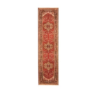Indo Hand-knotted Heriz Red/ Black Wool Rug (2'6 x 10')