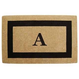 Heavy Duty Coir Monogrammed Black Door Mat