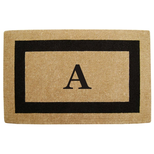 Elegant Heavy Duty Coir Monogrammed Black Door Mat
