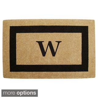 Heavy Duty Coir Monogrammed Black Door Mat
