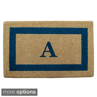Heavy Duty Coir Monogrammed Frame Blue Door Mat