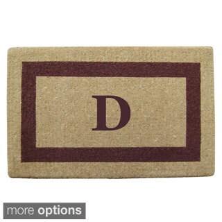 Heavy Duty Coir Monogrammed Brown Frame Door Mat