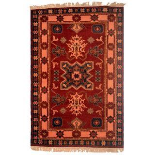 Indo Hand-knotted Kazak Burgundy/ Pink Wool Rug (3' x 5')