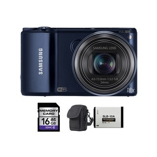 Samsung WB250F Smart 14.2MP Cobalt Black Digital Camera 16GB Bundle