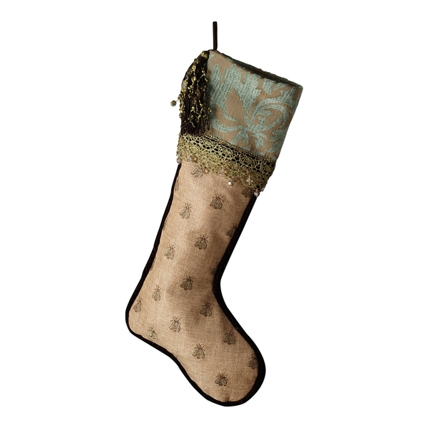 Sage & Co Patina Jacquard Embroidery Bees Stocking