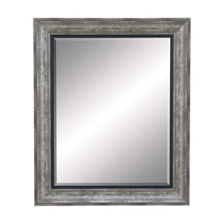 Beveled Dull Grey Finish Mirror with Frame