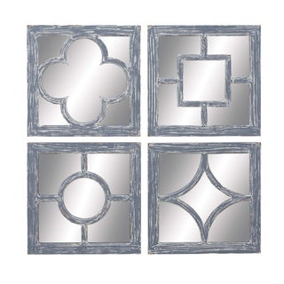 Assorted Glass and Wood Mirrors (Set of 4)