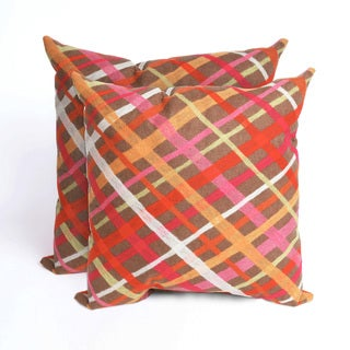 Mad Plaid 2 mandarin 20 inch Deocrative Pillow (Set of 2)