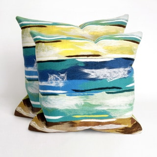 Paint Stripes Aqua 20 inch Deocrative Pillow (Set of 2)