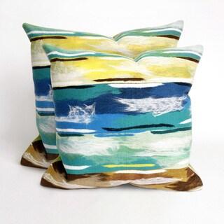 Paint Stripes Aqua 20 inch Deocrative Pillow (Set of 2)
