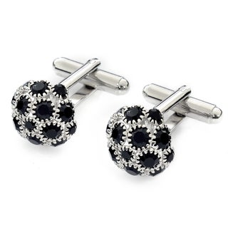EJ Sutton Classic Black and Silver Crystal Cufflinks (Israel)