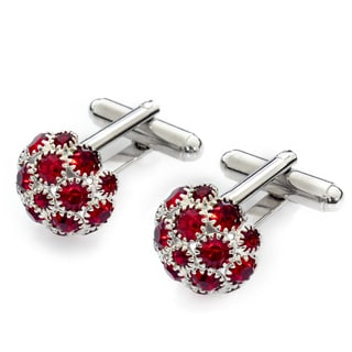 EJ Sutton Classic Red and Silver Crystal Cufflinks (Israel)
