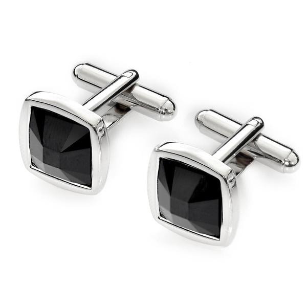 EJ Sutton Classic Black Swarovski Crystal Cufflinks (Israel)