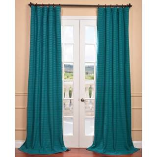 EFF Teal Hand-woven Cotton-blend Curtain Panel