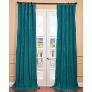Teal Hand-woven Cotton-blend Curtain Panel